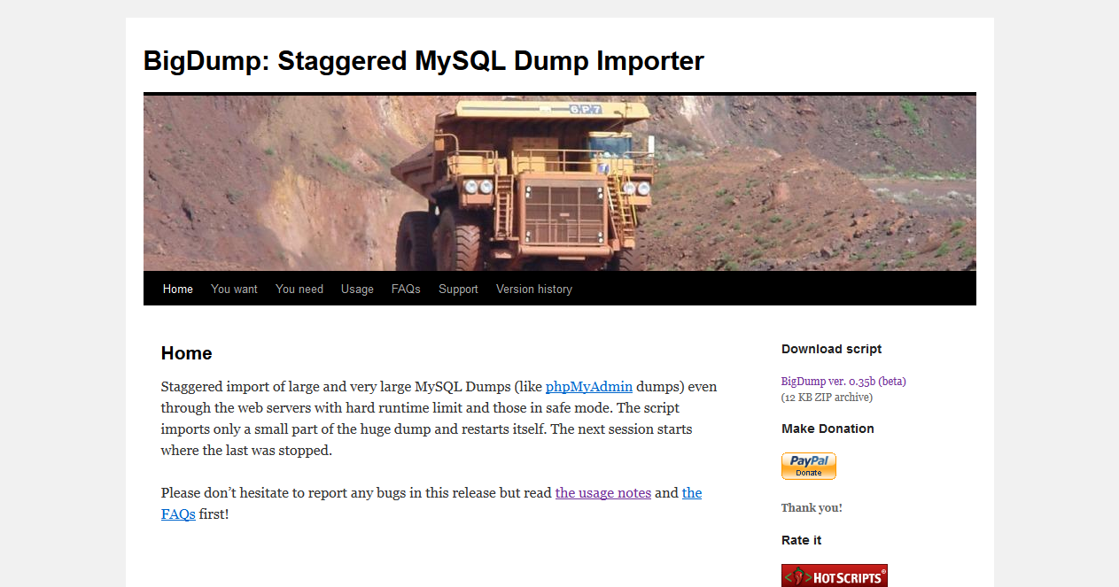 Thumbnail of WCAデータベースのMySQLへのインポートにはBigDumpを使うと高速かつ楽 — terabo.net